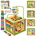 Toyventive Wooden Kids Baby Activity Cube - Boys Gift Set | One 1, 2 Year Old Boy Gifts Toys | Developmental Toddler Educational Learning Boy Toys 12-18 Months | Bead Maze, First Birthday Gift