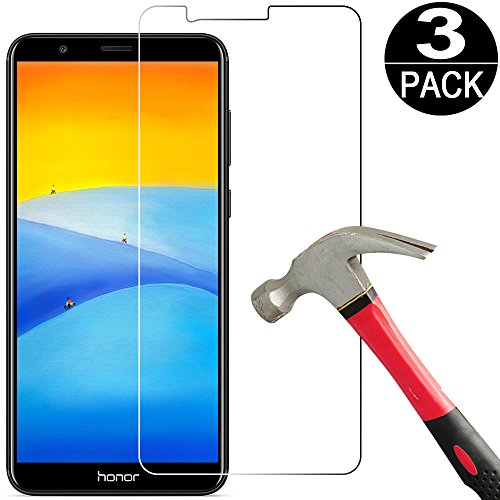 [3 Pack] Huawei Honor 7X / Mate SE Screen Protector Tempered Galss [9H Hardness][Anti Scratch][Bubble Free] HD Clear Tempered Glass Screen Protector Film for Huawei Mate SE/Honor 7X