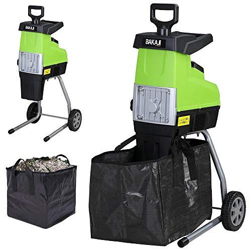 BAKAJI Biotriturador eléctrico picadora de hojas, potencia de 2800 W, triturador de hojas y ramas, con bolsa de recogida de 60 litros