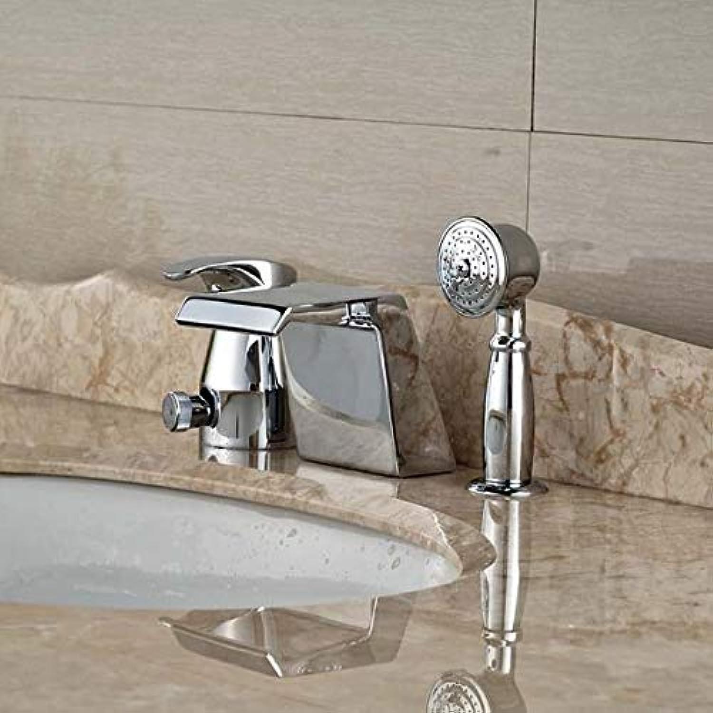 Deck Montage Chrom-Messing-Wasserfall Sandstrahlbad Badewanne Wasserhahn Mit Hand Spaye
