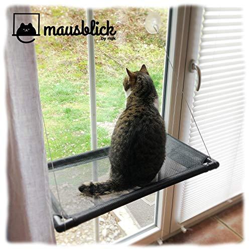riijk Fenster Katzenhängematte für Katzen bis 23 kg | extra Stabiler Fensterliegeplatz für Katzen | Katzen Fensterliege | Katzenliege FensterPlatz | für kleine Fenster