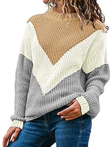 WFTBDREAM Sweaters for Women Round Neck Long Sleeve Casual Winter Blouses Khaki M