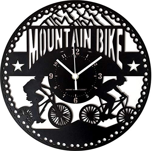 Instant Karma Clocks Wall Clock Mountain Bike Cycling Bicycle Hiking Tour, Black, Wood