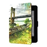 Kindle Paperwhite 1 2 3 Case, Scene Old Boat Bridge Picture Painting PU Funda de Cuero con Smart Auto Wake Sleep para Amazon Kindle Paperwhite (se Adapta a Las Versiones 2012, 2013, 2015)
