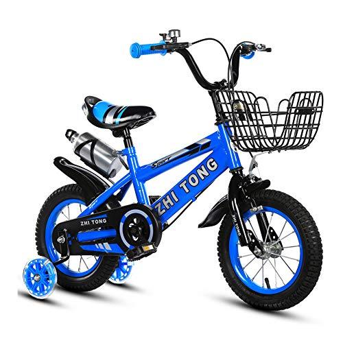 Baby Bicicletta per Bambini Ragazza Ragazzo 2-7 Anni Freestyle BMX 12 14 16 18 Pollici Bicicletta Bambini con Le Ruote Bici per Bambini + Tazza d'Acqua,Blu,14INCH