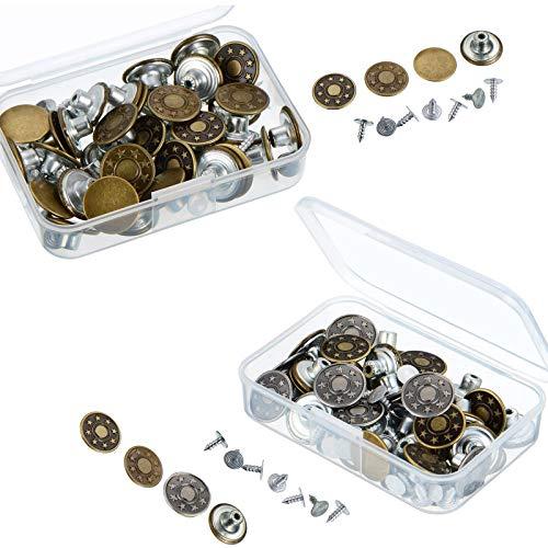 Botones de Jeans,100 Piezas Botones Jeans Metalicos,Botones Vaqueros Presion,Juego de Botones para...