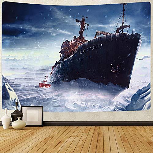 Tapiz de Castillo Dragón Crucero Verano Mar Tapices para colgar en la pared para sala de estar Toalla de playa Manta 150x180cm