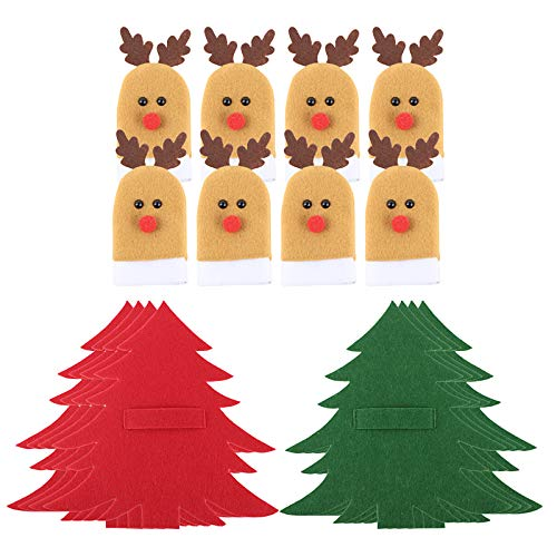 UFLF 8pcs Soporte Cubiertos Navidad Porta Cubiertos Decorativos Bolsa+8pcs Gorros Botella Vino para Decoración Mesa Cena Adornos Navideños