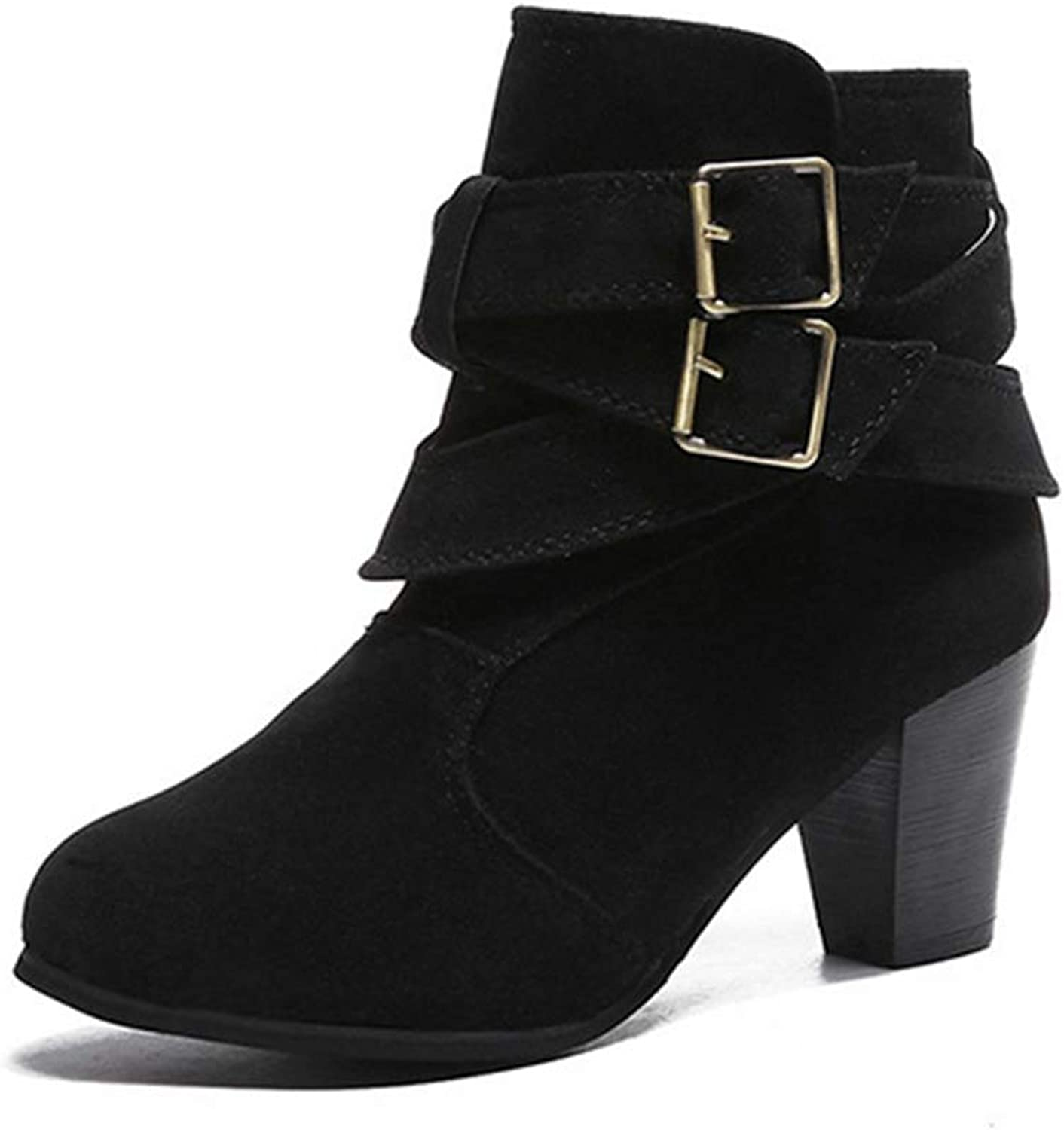 York Zhu Women Casual Boots,Winter Cut Out Buckle Strap Low Heel Ankle Booties Size 8