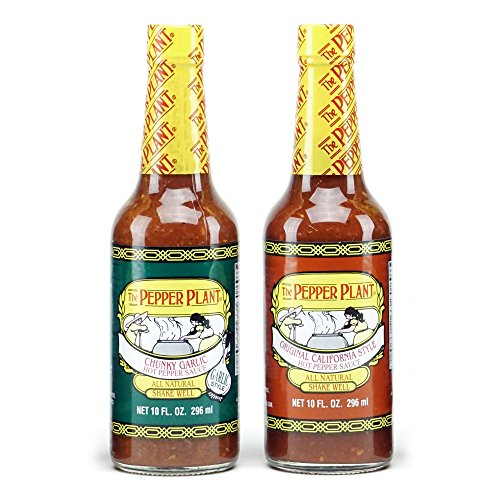 The Pepper Plant Hot Sauce Variety Pack, Original & Chunky Garlic, 10oz Each (Pack of 2)