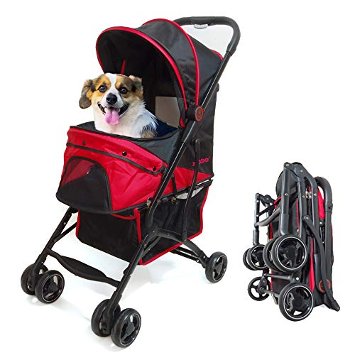 ポータブルペットベビーカー-4輪-3折りたたみ-片手操作で中小犬や猫に最適-20KG負荷の屋外旅行 (ブラック)