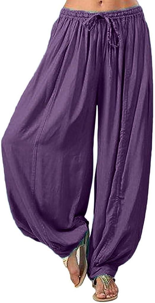 Womens Comfy Bohemian Tapered Elephant Harem Pants Casual Loose Elastic Waist Yoga Travel Pajama Lounge Pants S-3XL