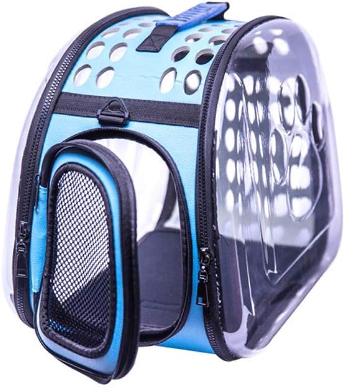 Cat Bag Pet Backpack Cat Dog Universal Waterproof Transparent Breathable Folding Travel 32  28  42cm (color   bluee)