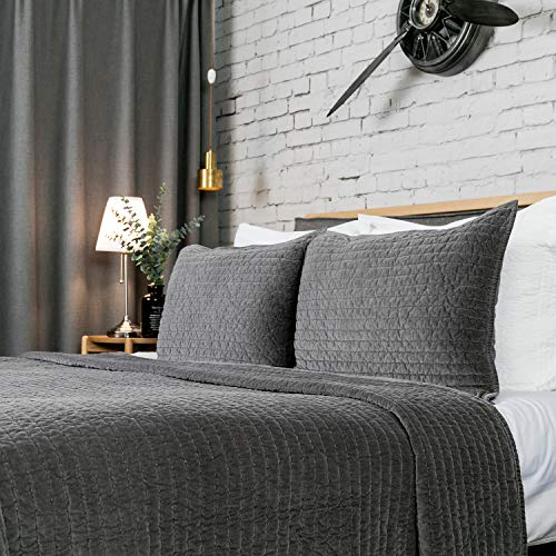 ELEGANT LIFE HOME Reversible Royal Cotton Velvet Pic-Stitch Bedding Quilt - Queen - 88''x 92'', Gray