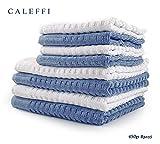 CALEFFl Set Asciugamani 8 Pezzi Caleffi Articolo Dream VAR. Bianco e Azzurro + tavoletta Profumo Biancheria per armadi by biancocasa