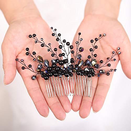 weichuang Peineta para el pelo negro de cristal para novia, tocado a...
