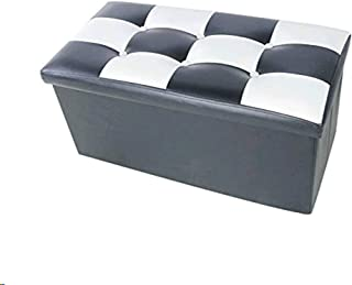 Lhh Storage Ottoman Leather Folding Toy Box,Bench Foot Rest for Bedroom,Storage Chest/Footrest/Padded Seat,30