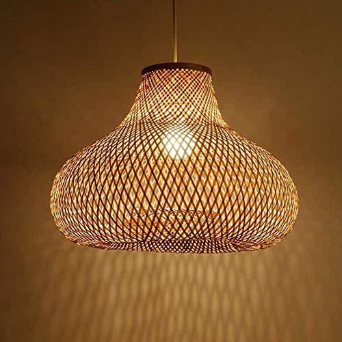 Deckenlampenschirm geformt Kugel, Hand Bambus Wicker Rattan Gourd Lampenschirm Pendelleuchte Aussetzung Holz zeitgenössisches Design, Beleuchtung Federung,50cm