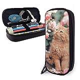Cute Cat La Perm Roses Big Capacity Durable Leather Pencil Case Makeup Bag With Zipper For School Office