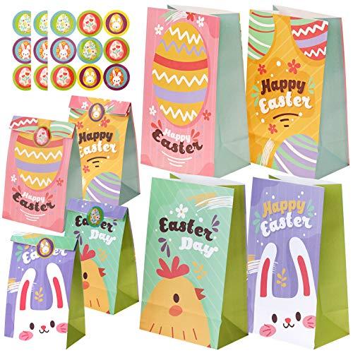 HOWAF Ostern Papier Geschenktüten, 24 Pack Ostern Partytüte für Kinder, Ostern Süss üßigkeiten Tüten, Ostern Goody Essen Behandeln Tüten, mit Ostern Geschenkanhänger Aufklebern