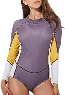 STARBILD Women's Long Sleeve Rashguard Floral Printed Zipper UV Protection One Piece Swimsuit Bathing Suit