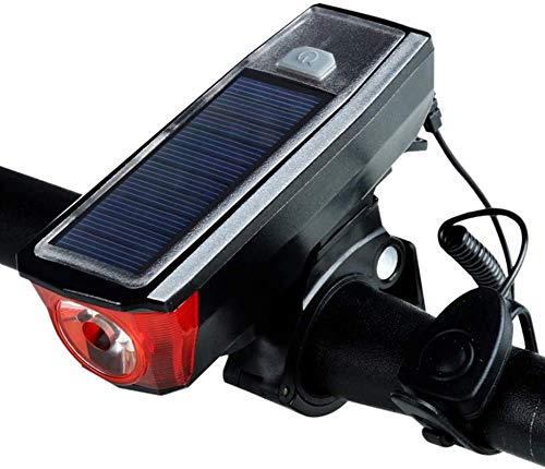 HSWYJJPFB Bicycle Accessories Bike Accessories Bike Lights with Bell Waterproof Bicycle Headlight Solar Charging 4 Lighting Modes,for Road & Mountain