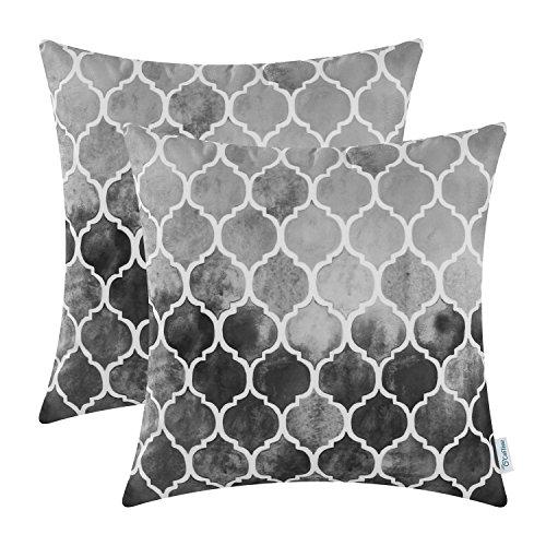 CaliTime Kissenbezüge Kissenhülle Kissenbezüge Packung mit 2 kuscheligen Kissenbezügen für Couchbett Sofa Manuelle handbemalte Bunte geometrische Gitterkettendruck 45cm x 45cm Hauptgrau Grau Carbon