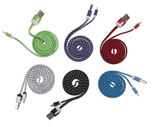 USB/micro-USB-kabel, gekleurd, voor het opladen van smartphones, smartphones, tablets en gps, 1 m