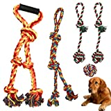 Large Dog Rope Chew Toys, Aggressive Chewers Tough Natural Cotton Rope Chew Knotted Heavy Rope Set Toys for Large and Medium Dog Teething, Chewing, Tug of War, Teeth Cleaning, Fetching Toy (H01)