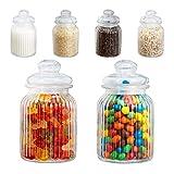 Relaxdays Vorratsgläser 6er Set, 1000 ml, Deckel, für Lebensmittel in Küche, Hochzeit Candy Bar Zubehör, luftdicht, klar