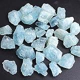 YSDSPTG Piedra de Cristal Natural Azul áspero fichas de Aguamarina Crudo triturado Piedra curación espécimen joyería de Cristal Mineral Haciendo decoración del hogar Acuario (Color : Big 30g 4 7pcs)