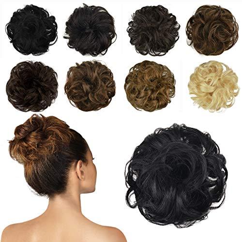 FESHFEN 100% Human Hair Bun Extension, Messy Bun Hair Piece Curly Hair Scrunchies Chignon Ponytail Extensions for Women Girls Updo Donut Hairpiece, Jet Black