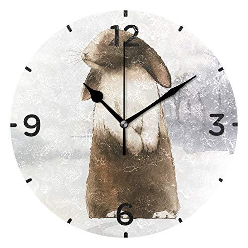 Conejo del Polo Norte Reloj de Pared Silencioso Reloj de Cuarzo Redondo DIY Reloj de Etiqueta para Sala Oficina