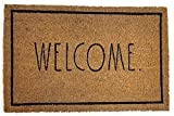 """Rae Dunn Welcome Door Mat - 24"""" x 36"""" Welcome Mat - Coco Coir Coconut Fiber and Waterproof Rubber Back - Cute Decor Indoor and Outdoor Rug for Front Porch, Entrance, Entryway, Patio"""
