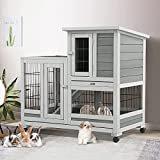 Esright Rabbit Hutch Pet House for Small Animals 37 inches Guinea Pig House Rabbit Cage with Run Bunny House Indoor 4 Casters Removable No Leak Trays & Ladder