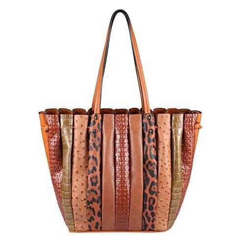 OBC XXL Damen Tasche Shopper Handtasche Arbeit Bag Umhängetasche Schultertasche Leder Optik Kroko Strauß Leoparden Print Cognac
