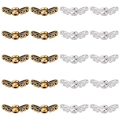 PandaHall 200 cuentas de alas de ángel, plata y oro, aleación tibetana, espaciador de alas de hadas, para decoración de bodas, manualidades (agujero de 14 mm, 1,5 mm)