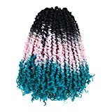 Toyotress Tiana Passion Twist Hair - 12 Inch 8 Packs Natural Black to Light Pink to Light Blue - Pre-twisted Crochet Braids Synthetic Braiding Hair Extenstion (12 Inch 8P,1B/LT-Pink/LT-Blue)