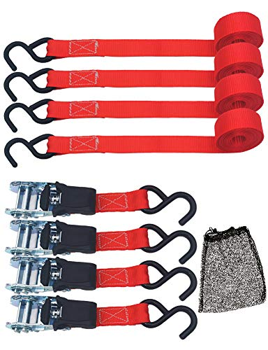 TOPSKY Ratchet Tie Down Straps, 1 in x 10 ft Securing Straps, 1200lb Break Strength, Red(4 Pack), RTD2005