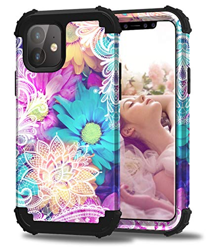 Hocase iPhone 11 Case, Heavy Duty Shockproof Protection Hard Plastic+Silicone Rubber Bumper Hybrid Protective Phone Case for iPhone 11 (6.1') 2019 - Colorful Lace Flowers Design