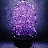 Luz Fantasma 3D Juego llevó la luz Trono Canción de Hielo y Fuego se Acerca el Invierno Decoración del hogar Regalos-Touch Luz de Noche LED para niños (Color : Touch+Remote)