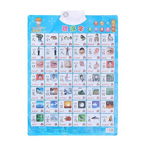 YeahiBaby Gráfico de Pared Digital de Audio de Pinyin Chino Gráfico de Voz electrónica Juguete de Aprendizaje Preescolar para niños Niños pequeños (sin batería)