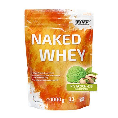 TNT Naked Whey + Laktase • 1kg Whey Protein-Pulver Konzentrat • Eiweißpulver (Pistazien-Eis)