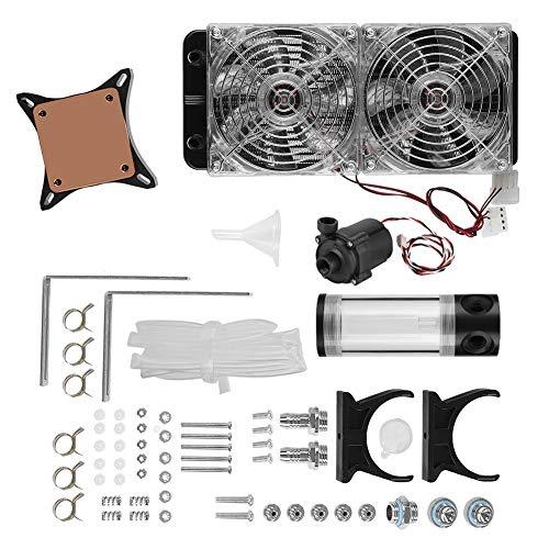 Hopcd Equipo de Enfriamiento de Agua Computadora, DIY Radiador de Enfriador de Agua para Computadora de Escritorio 240MM + Ventilador LED + Tanque de Agua cilíndrico de 140MM + Bomba 500L/H S600,