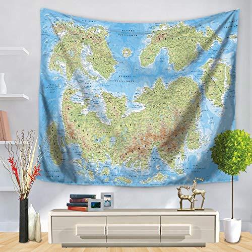 KHKJ Mapa del Mundo patrón Tapiz de Pared Manta Colgante de Pared decoración de casa de Campo decoración del hogar A21 95x73cm