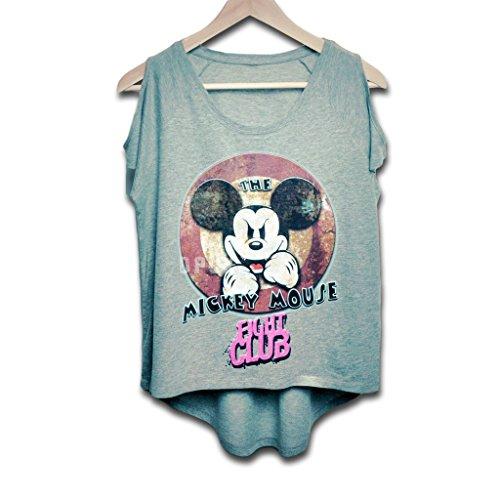 Traje de neopreno para mujer EVIL lucha con texto en inglés DISNEY MICKEY MOUSE CLUB T-camiseta de manga corta