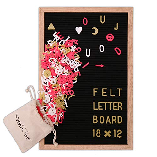 HQD Letter Board Vintage Black Felt Letter Board with Changeable Letters, Oak Wood Frame and Canvas Bag, Display Announcement Boards with Wooden Stand for Gift/Restaurant Menu/Quotes (1812)