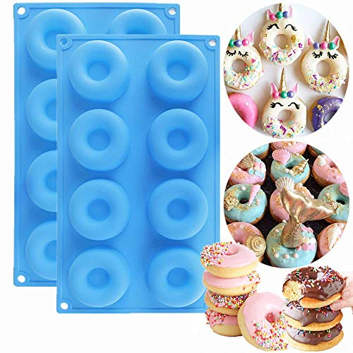 LaVenty 2 Pack Small Donut Mold Silicone Donut Pan Bagel Mold Tray Cake Mold Non Stick Doughnut Pans for Baking