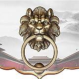 Aldaba de puerta antigua china, manija de la puerta del armario de latón Manija con cabeza de león Manija de la puerta para manijas de muebles Gabinete Face-b 12cm (5 pulgadas)
