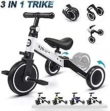 XJD 3 in 1 Kids Tricycles for 1-3 Years Old Kids Trike 3 Wheel Bike Boys Girls 3 Wheels Toddler Tricycles Toddler Bike Trike Upgrade 2.0 (White)
